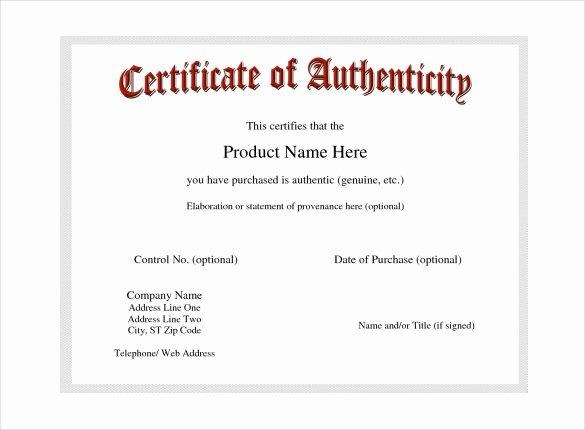 Certificate Of Authenticity Template Microsoft Word Luxury Certificate Of Authenticity Template Certificate