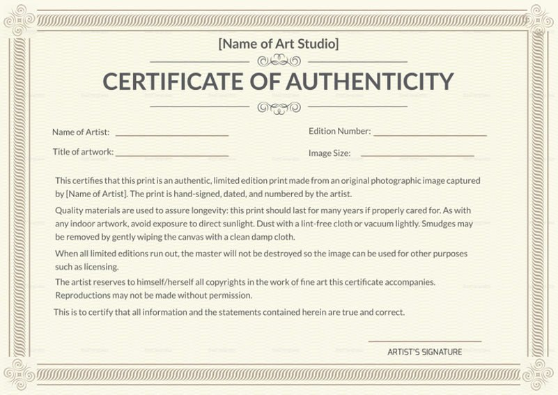 certificate of authenticity for conceptual art