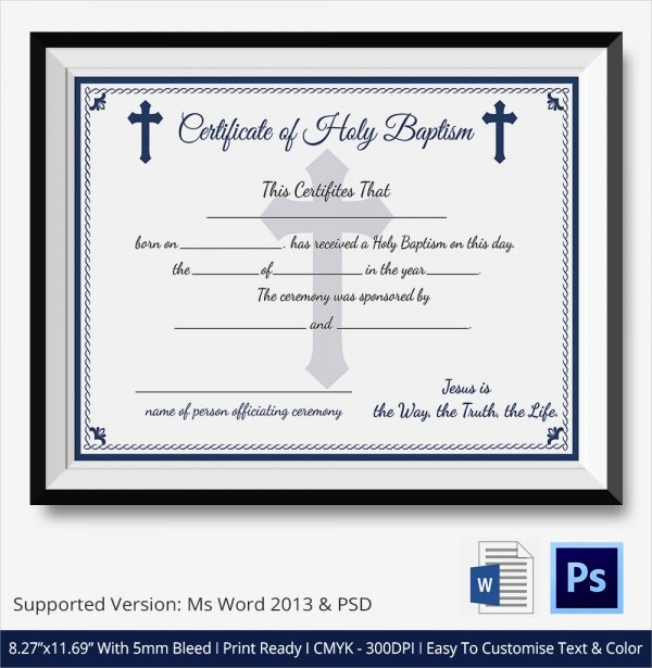 Certificate Of Baptism Template Awesome Sample Baptism Certificate 23 Documents In Pdf Word Psd