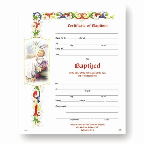 Certificate Of Baptism Template Fresh Baptism Certificate 50 Pack