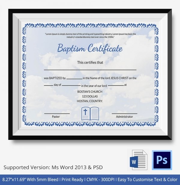 Certificate Of Baptism Template Inspirational 18 Sample Baptism Certificate Templates Free Sample
