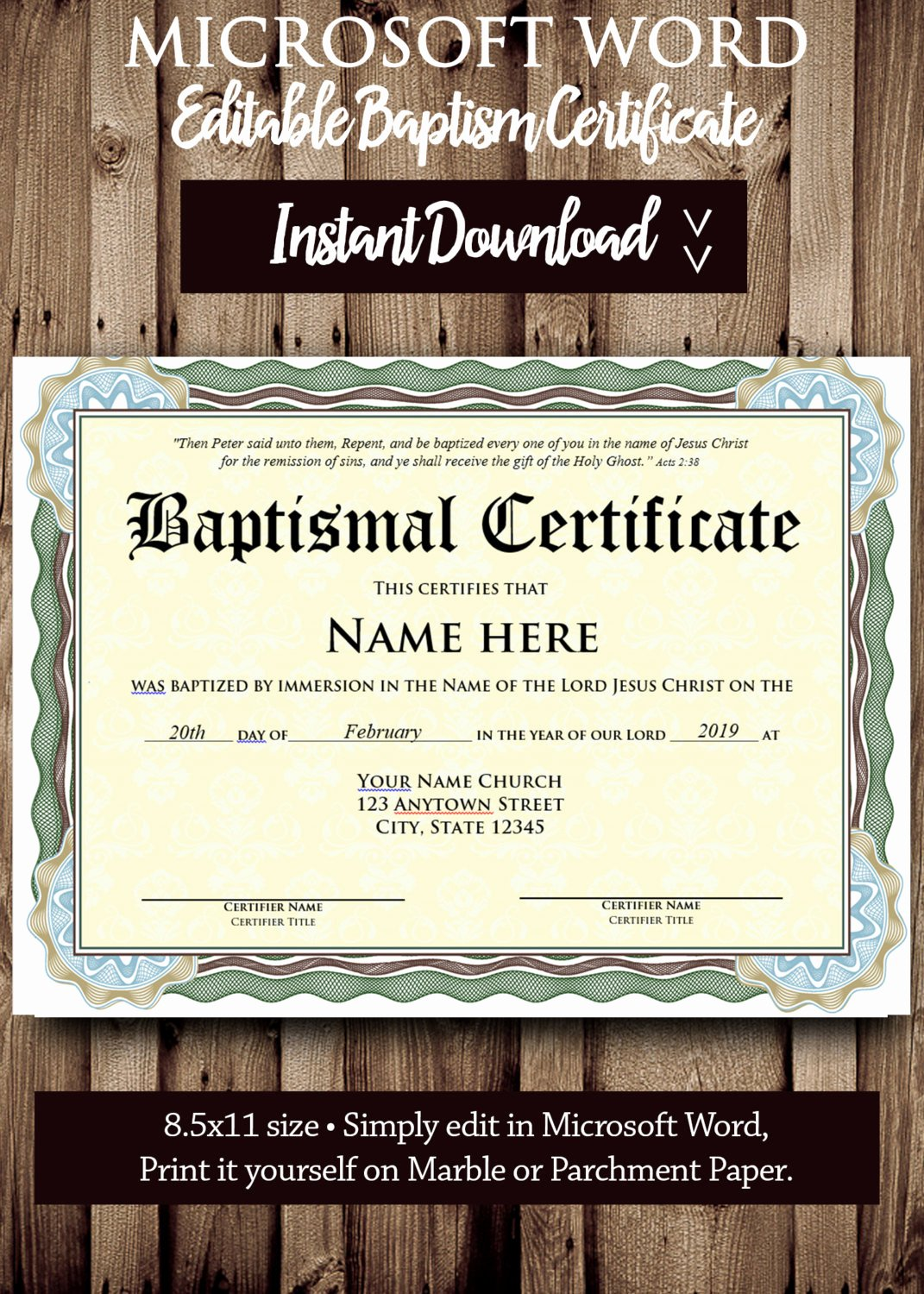 Certificate Of Baptism Template Luxury Baptism Certificate Template Microsoft Word Editable File