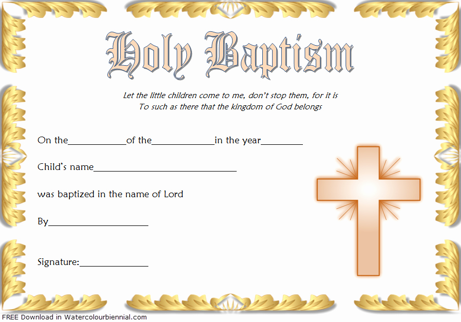 Certificate Of Baptism Template Unique Baptism Certificate Template Word [9 New Designs Free]