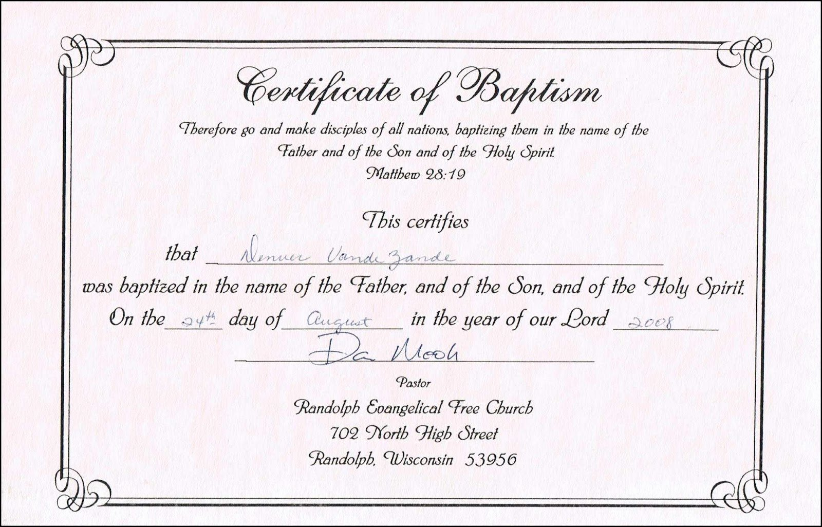Certificate Of Baptism Word Template Awesome Sample Baptism Certificate Templates