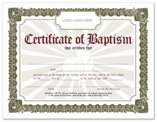 Certificate Of Baptism Word Template Elegant Free Baptism Certificate Hmong American Baptist Church