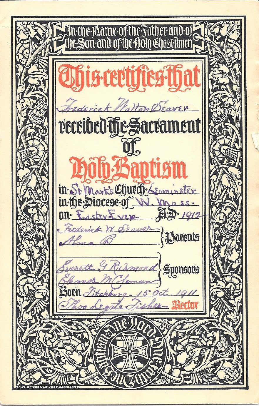 Certificate Of Baptism Word Template Lovely Genea Musings Treasure Chest Thursday Frederick Seaver