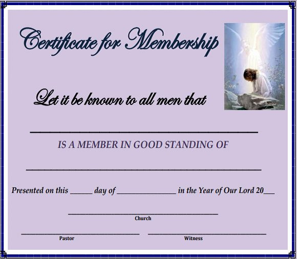 Certificate Of Church Membership Template Unique Free 14 Membership Certificate Templates In Samples