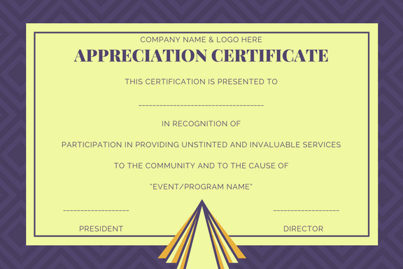 certificate of appreciation format
