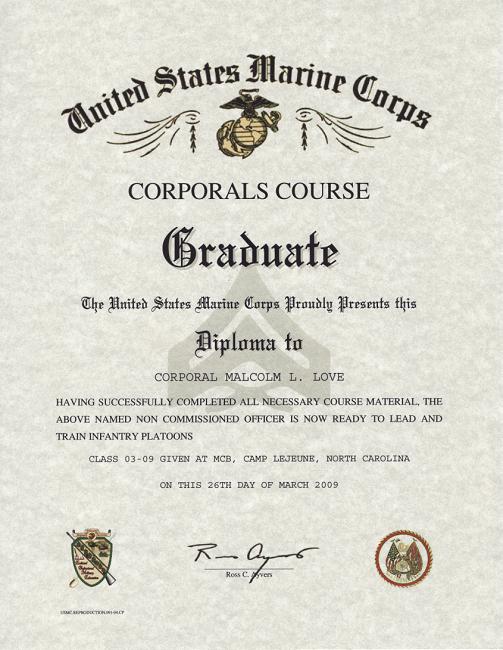 Certificate Of Commendation Usmc Template Elegant Corporals Course Usmc Certificate