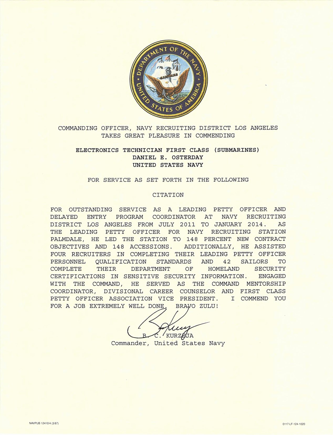 Certificate Of Commendation Usmc Template Elegant Letter Of Mendation