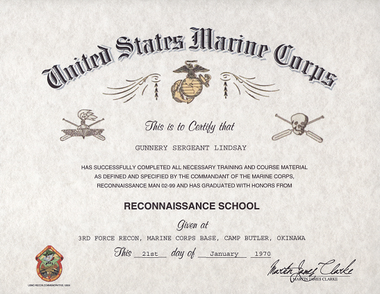 Certificate Of Commendation Usmc Template Fresh Usmc Recon Certificate