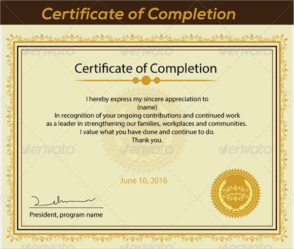 Certificate Of Completion Images Beautiful 36 Sample Certificate Of Pletion Templates In