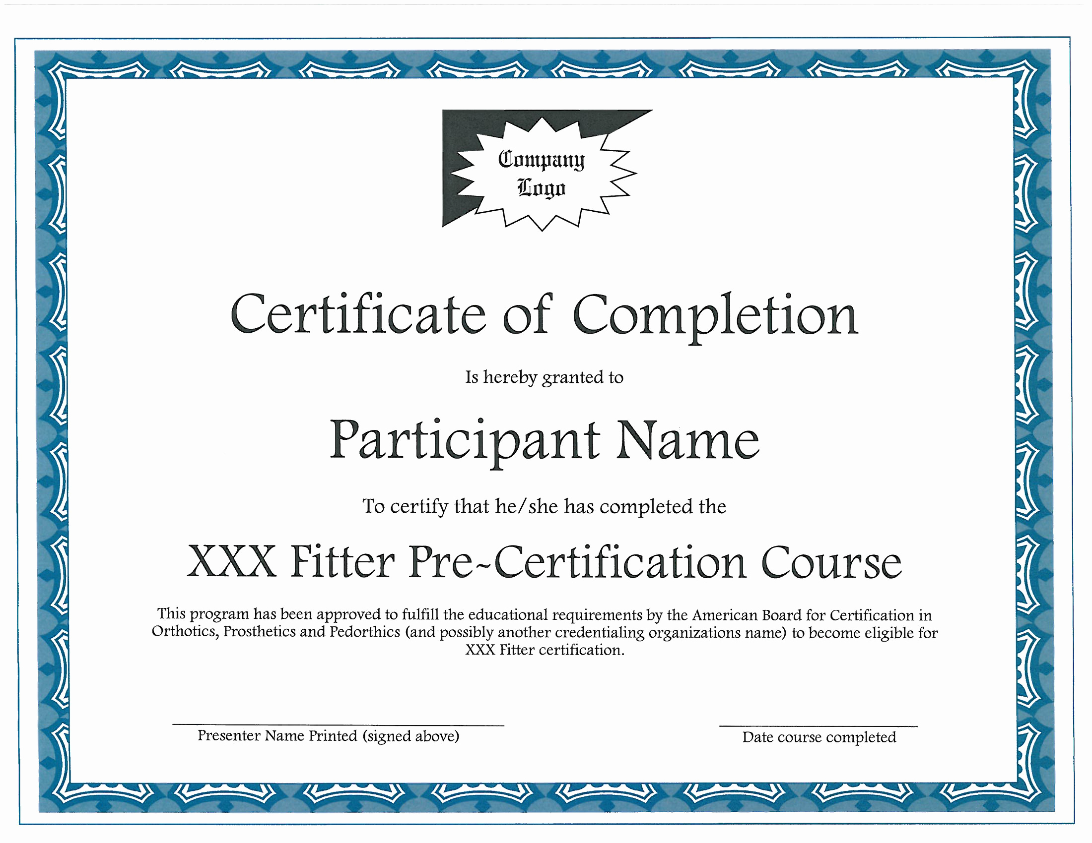 Certificate Of Completion Images Lovely Fitter Pre Certification Course Providers