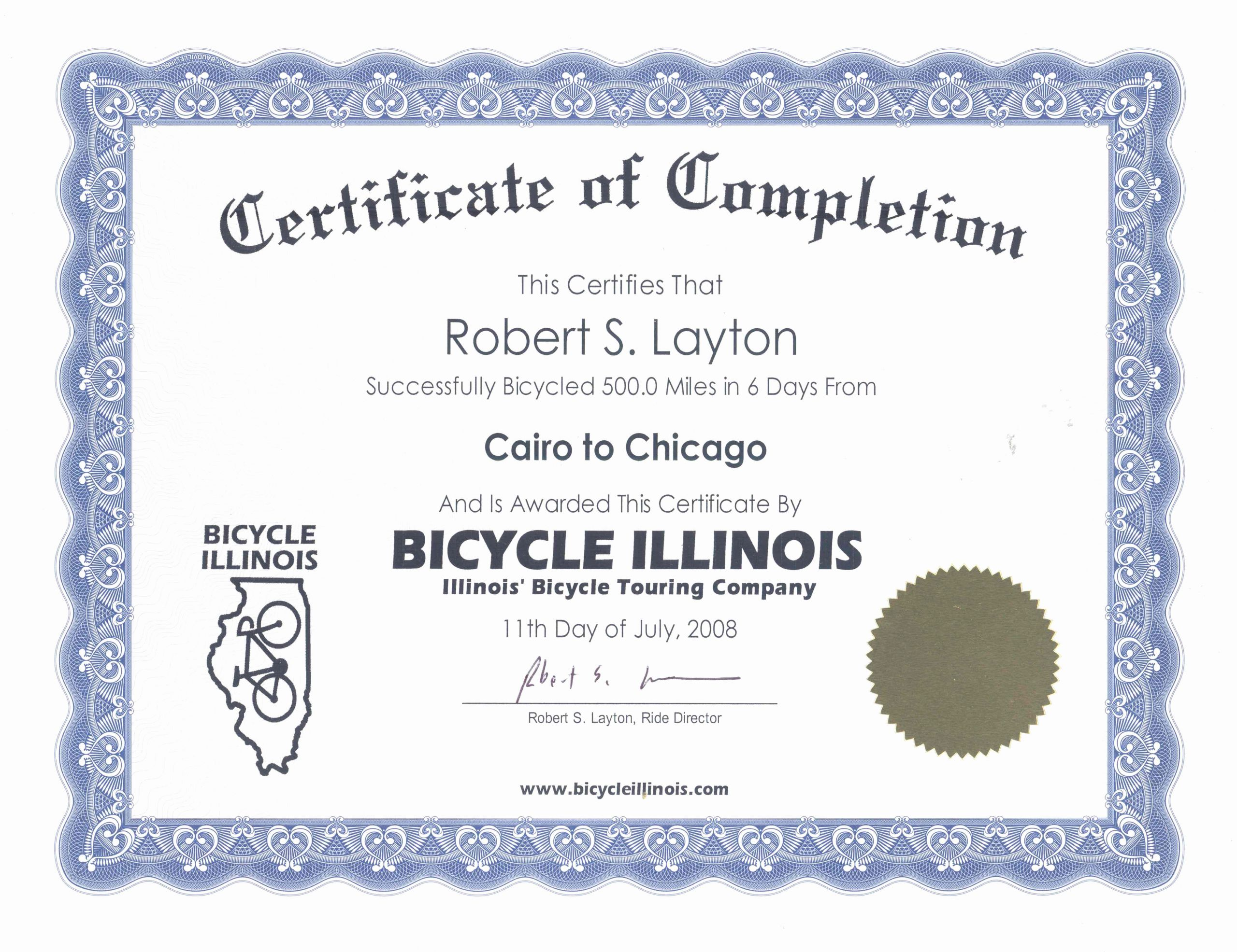Certificate Of Completion Images Unique Bicycle Illinois Illinois Bicycle touring Pany