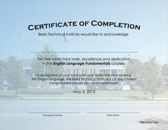 Certificate Of Completion Template Construction Beautiful 36 Sample Certificate Of Pletion Templates In