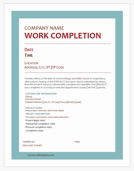 Certificate Of Completion Template Construction Best Of 9 Best Work Pletion Certificates for Ms Word
