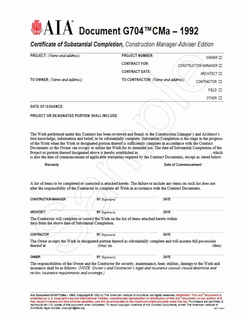 Certificate Of Completion Template Construction Best Of G704cma–1992 Certificate Of Substantial Pletion