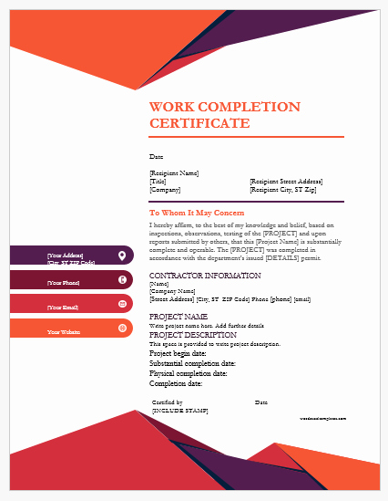 Certificate Of Completion Template Construction Lovely 9 Best Work Pletion Certificates for Ms Word