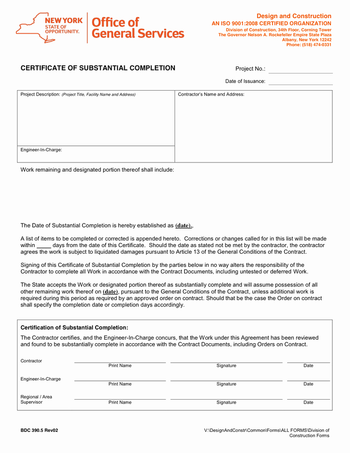 Certificate Of Completion Template Construction New Certificate Of Substantial Pletion In Word and Pdf formats