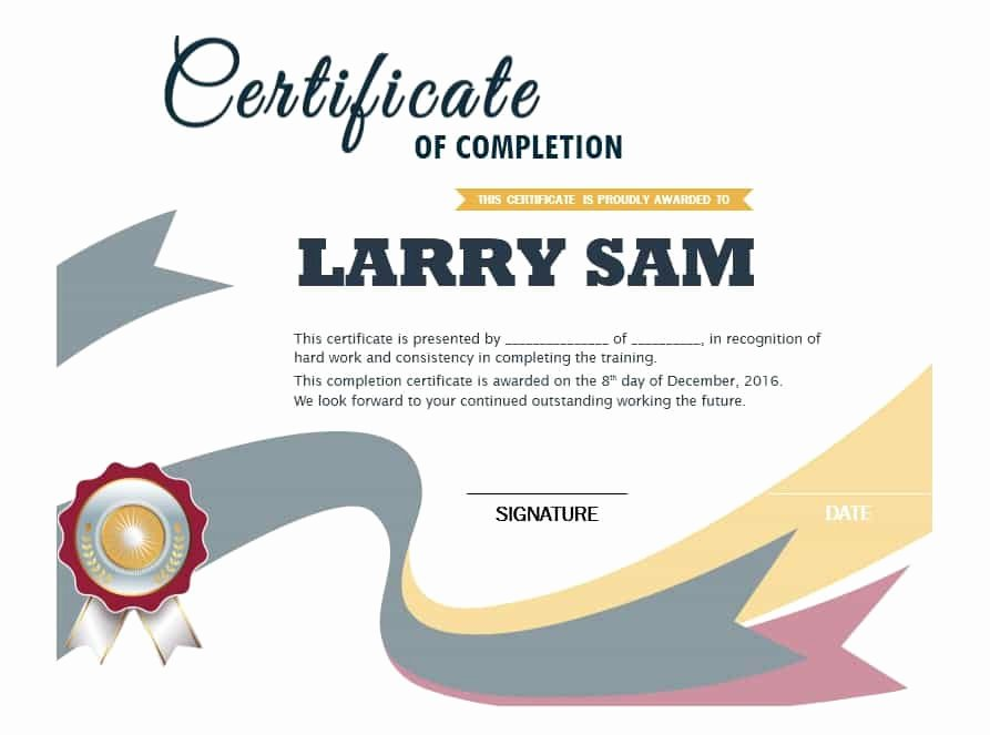 Certificate Of Completion Template Powerpoint Inspirational 40 Fantastic Certificate Of Pletion Templates [word
