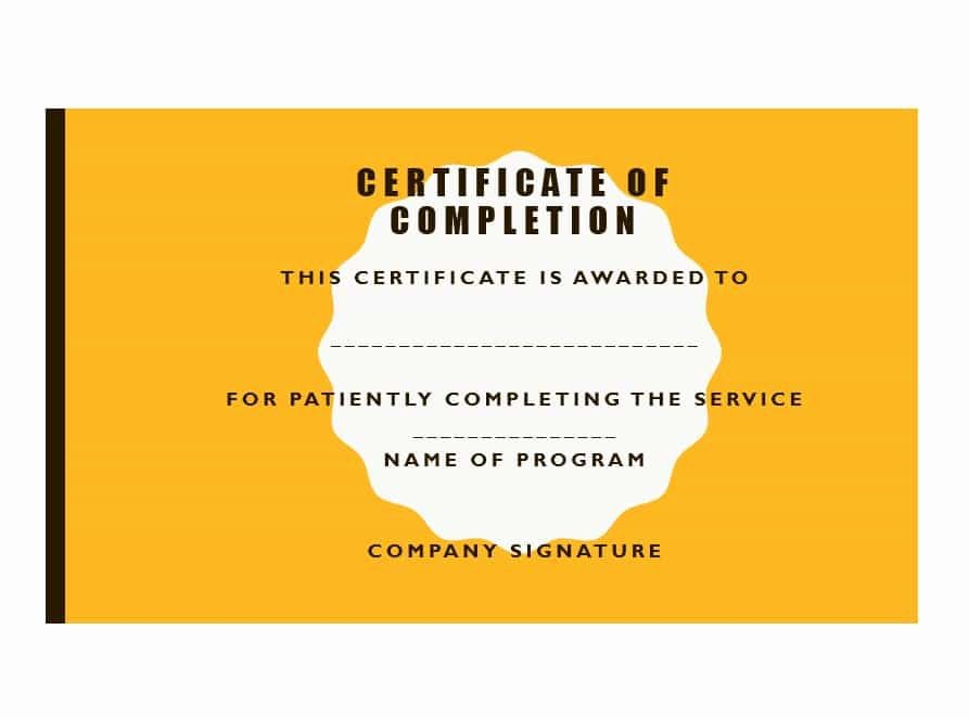 Certificate Of Completion Template Powerpoint New 40 Fantastic Certificate Of Pletion Templates [word