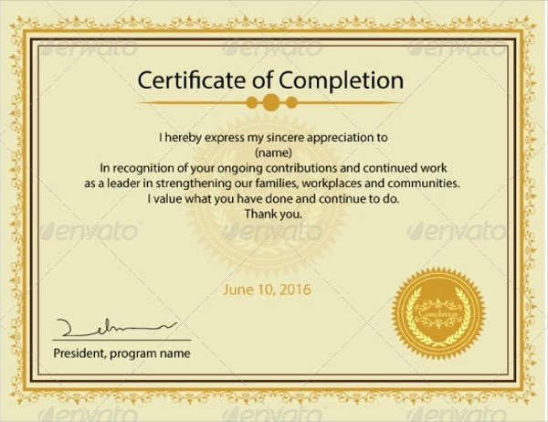 Certificate Of Completion Wording Awesome 20 Certificates Of Pletion Word Psd Ai Indesign