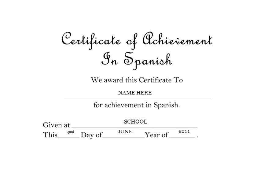 Certificate Of Completion Wording Best Of Certificate Of Achievement In Spanish Free Templates Clip