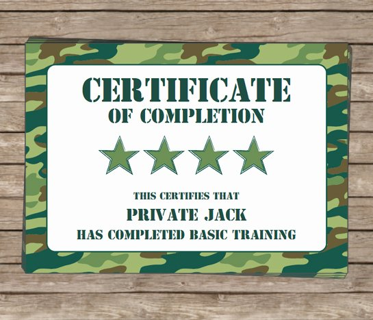 Certificate Of Completion Wording Lovely Army Birthday Party Invitations Camo