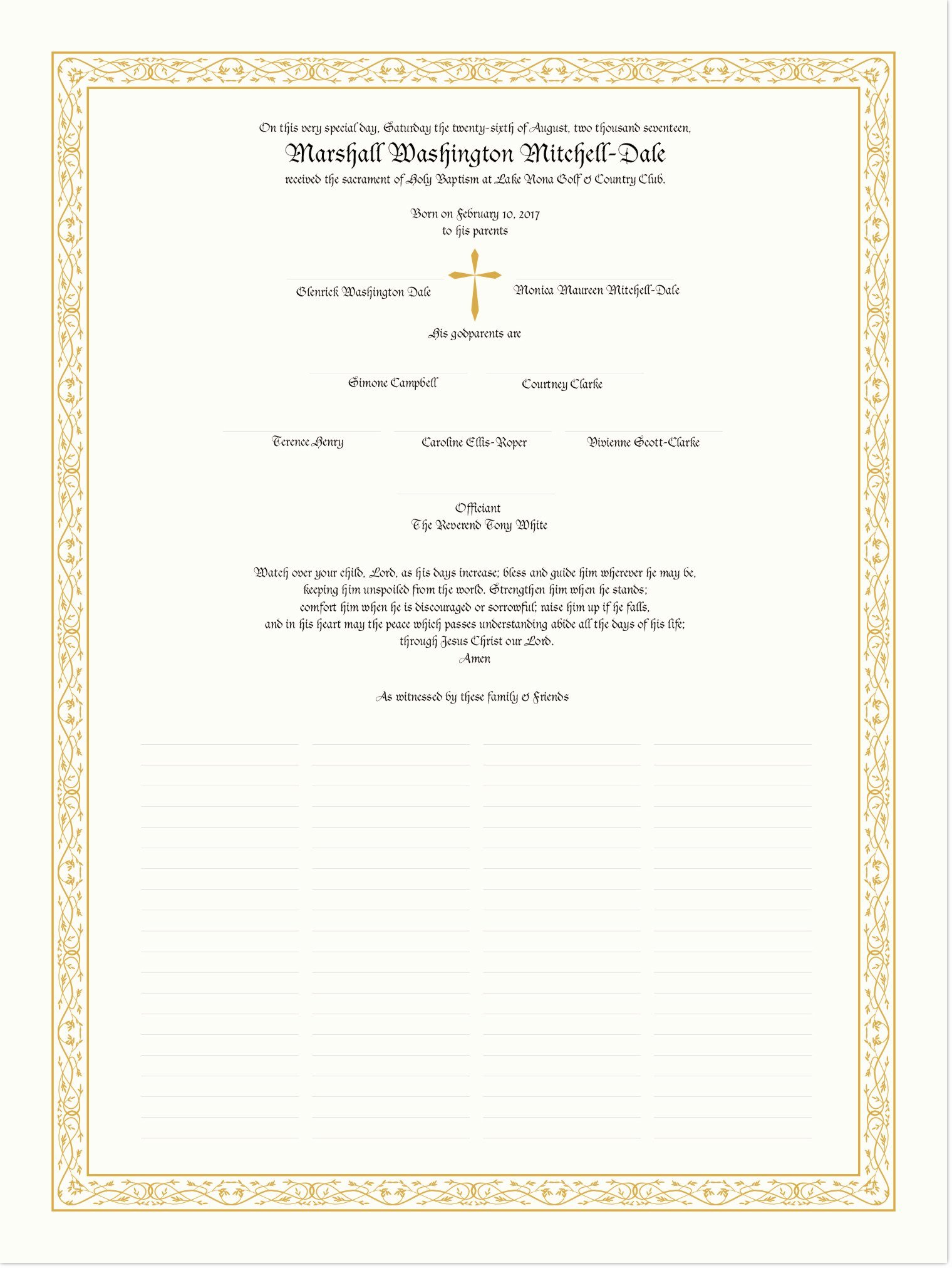 blackletter gothic baptism and christening certificates