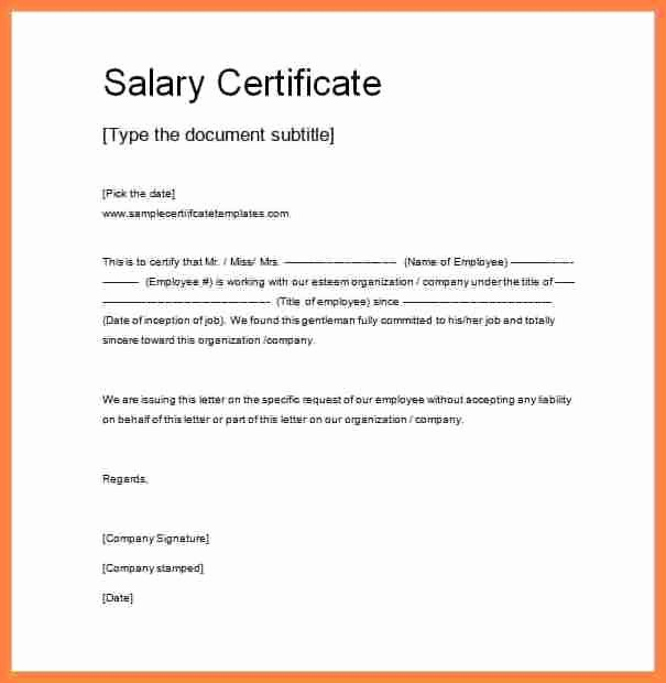 Certificate Of Confirmation Template New 5 Salary Confirmation Mail