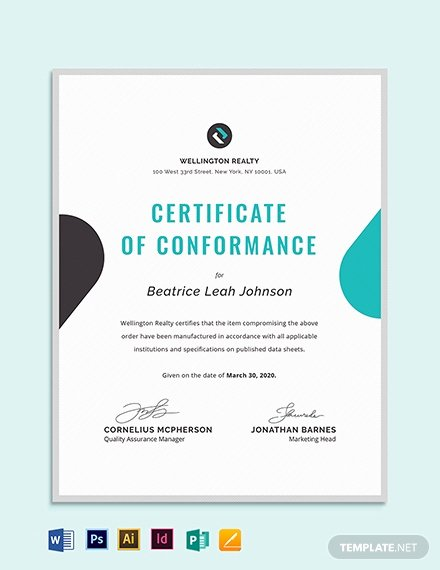 Certificate Of Conformance Template Beautiful Manufacturer S Certificate Of Conformance Templates