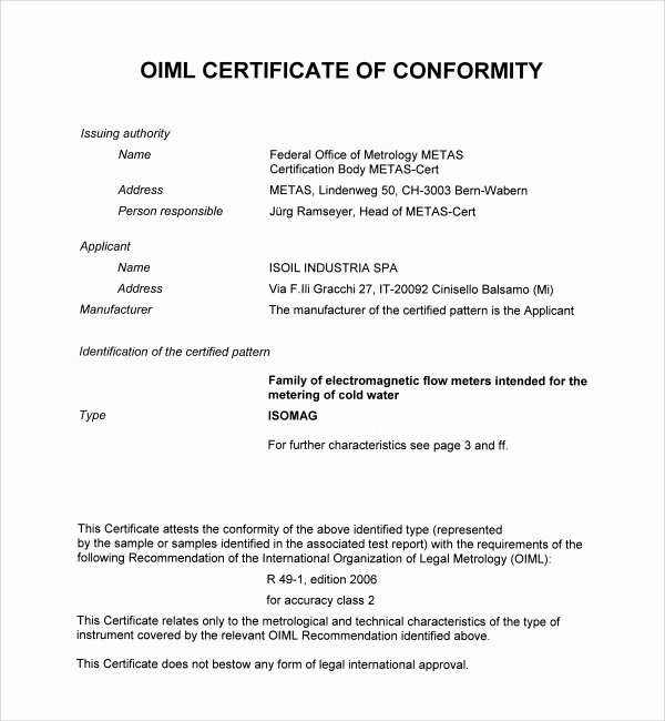 Certificate Of Conformance Template Beautiful Sample Conformity Certificate Template 15 Documents In
