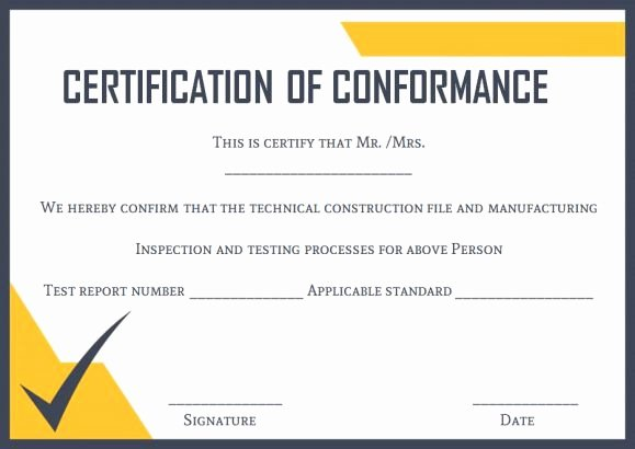 Certificate Of Conformance Template Lovely Ocean Cert