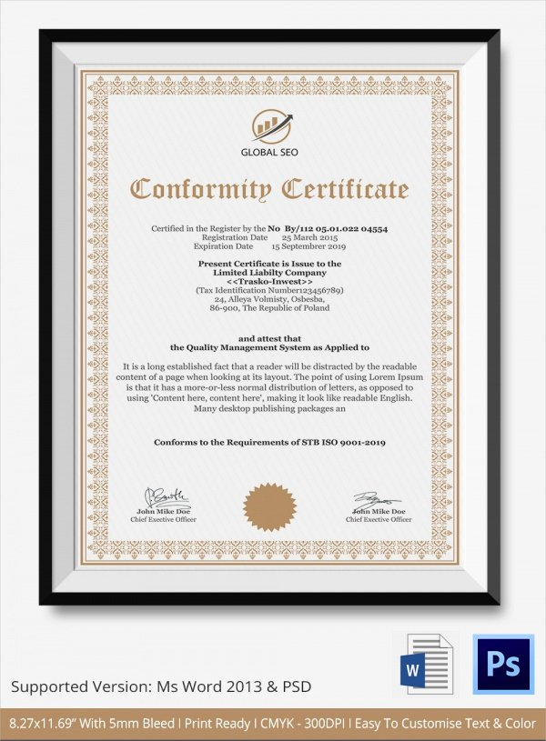 Certificate Of Conformance Template Lovely Sample Certificate Of Conformance 23 Documents In Pdf