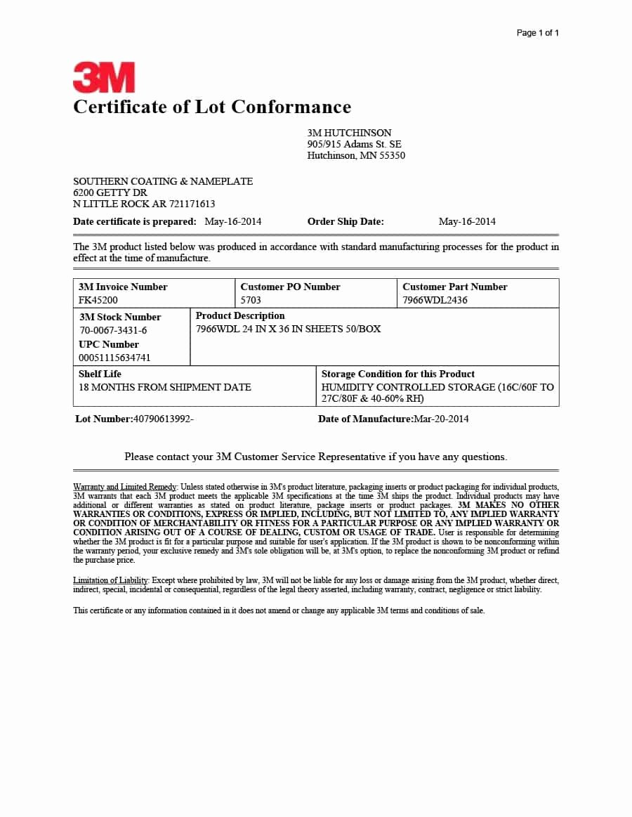 Certificate Of Conformance Template Pdf Best Of Certificate Conformance