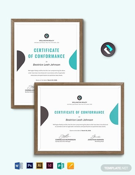 Certificate Of Conformance Template Pdf Fresh Certificate Of Conformance Template 8 Word Psd Ai