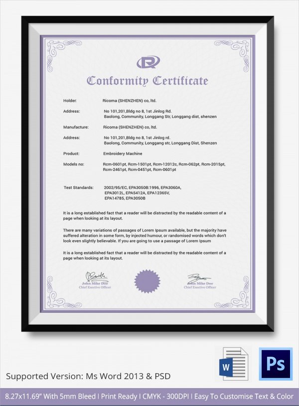 Certificate Of Conformance Template Pdf Lovely 20 Certificate Of Conformance Templates