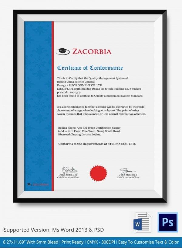 Certificate Of Conformance Template Pdf Unique Certificate Of Conformance Template 7 Free Word Pdf