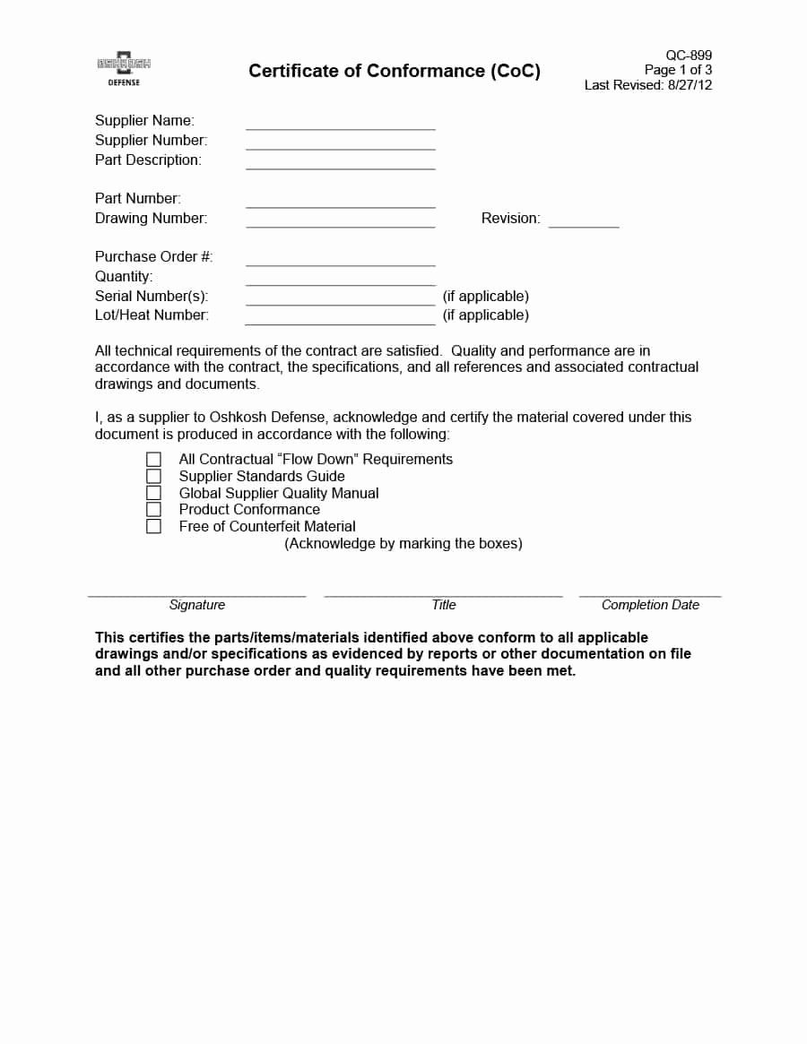 Certificate Of Conformance Template Word Awesome 40 Free Certificate Of Conformance Templates & forms