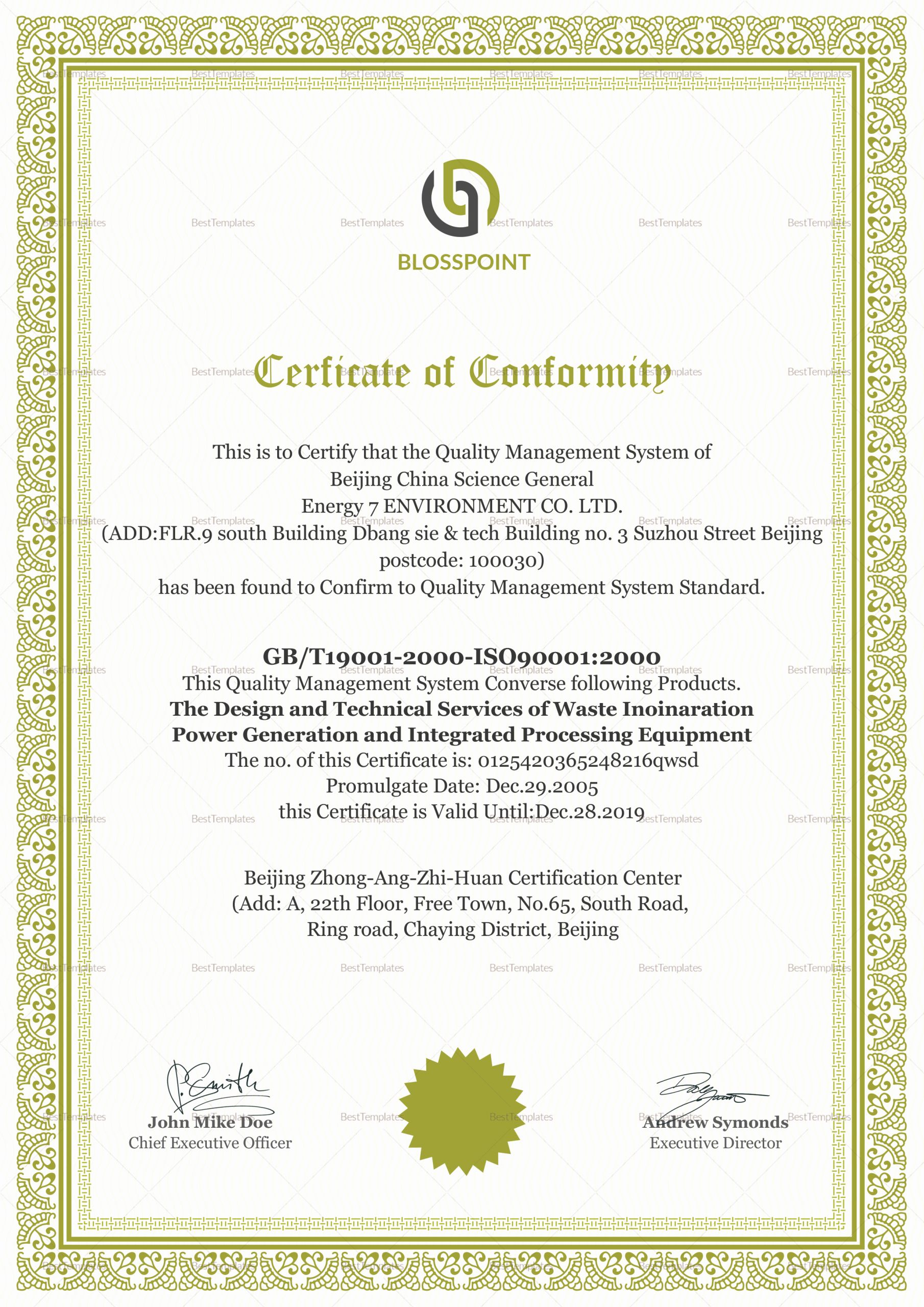 Certificate Of Conformance Template Word Awesome Simple Conformity Certificate Design Template In Psd Word