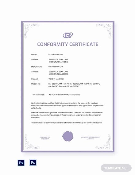 Certificate Of Conformance Template Word Best Of 12 Conformance Certificates Psd Word Ai Indesign