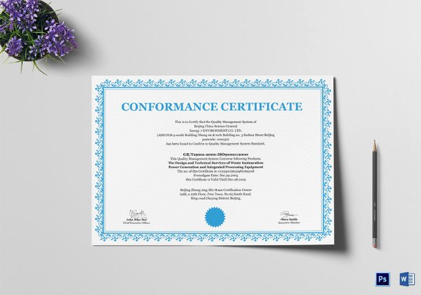 Certificate Of Conformance Template Word Elegant Certificate Of Conformance Template 8 Word Psd Ai