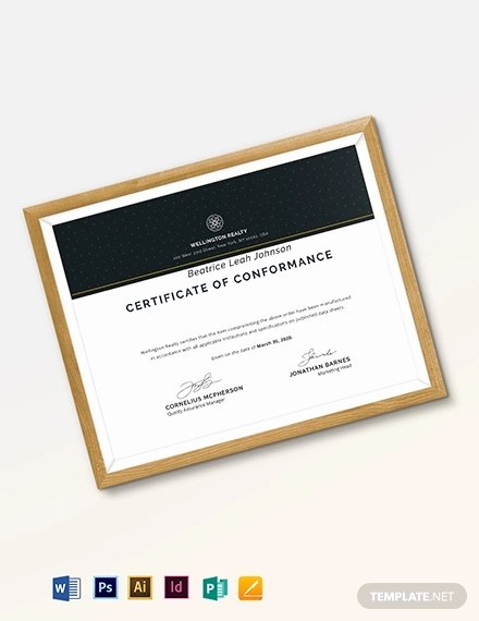 Certificate Of Conformance Template Word Inspirational Certificate Of Conformance Template 9 Word Psd Ai