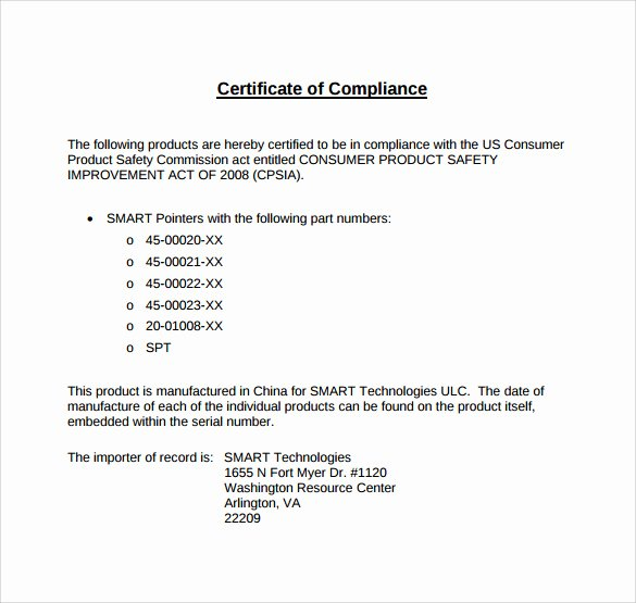 Certificate Of Conformance Template Word Inspirational Sample Certificate Of Pliance Template 15 Free