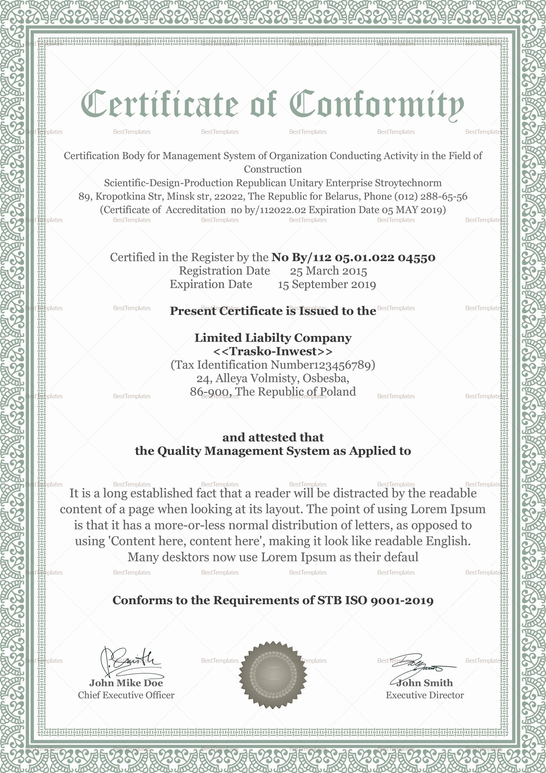 Certificate Of Conformity Template Awesome Conformity Certificate Design Template In Psd Word