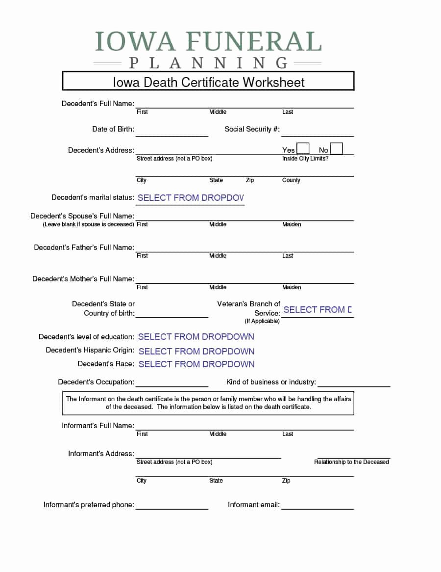 Certificate Of Cremation Template Lovely 37 Blank Death Certificate Templates [ Free]