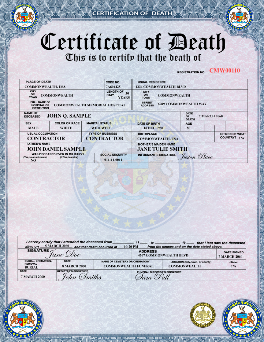 Certificate Of Cremation Template Lovely Eurosign Inc › Death Certificate