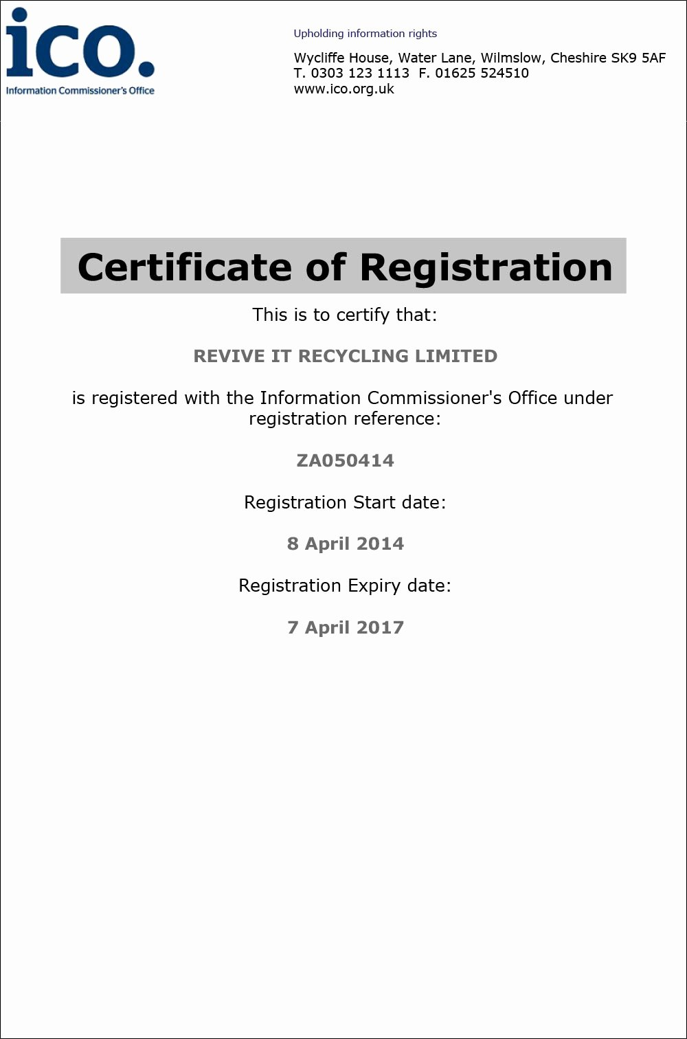 Certificate Of Data Destruction Template Inspirational Licences Certificates Revive It Recycling Puter