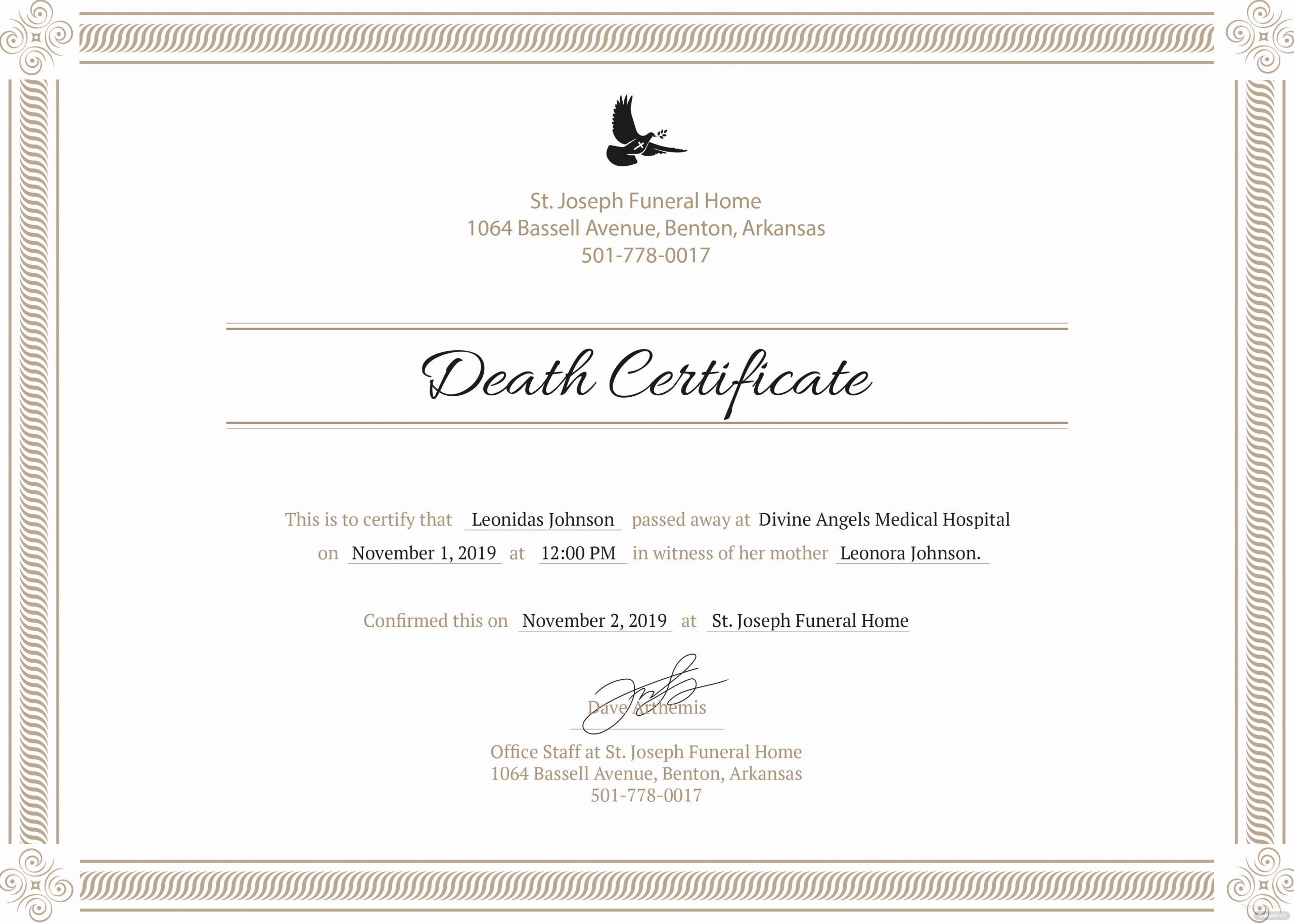 Certificate Of Death Template Awesome Free Death Certificate Template In Psd Ms Word Publisher