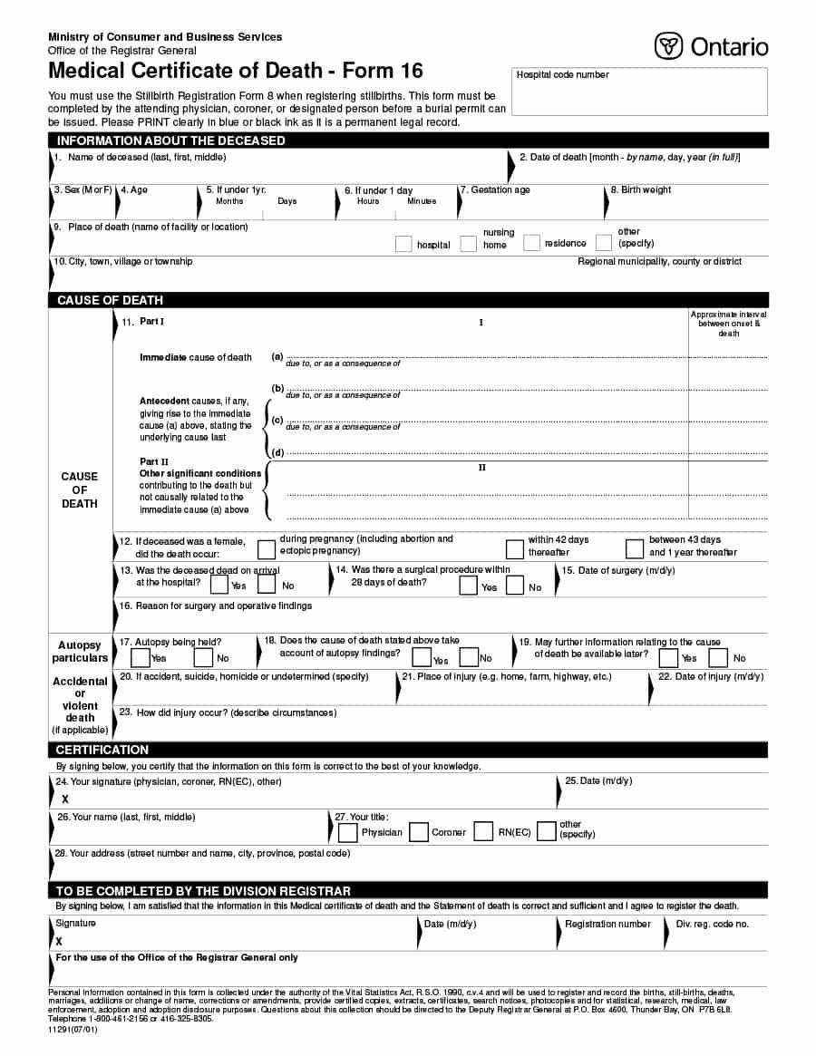 Certificate Of Death Template Beautiful 37 Blank Death Certificate Templates [ Free]